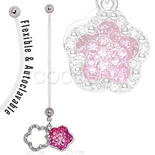 BioFlex Double Layer Flower Dangle Pregnancy Navel Ring $9.99  #pregnant #preggers #expecting #mom #mommy #newmom #girl  #floral #flower #pink #sparkle #cz #bellyring #navelring #piercing #bodymod  #bodyjewelry #jewelry  #cocobul #cocobulbodyjewelry