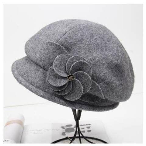 cappello della benna del fiore di modo per le donne di lana casuale feltro indossare cappelli inverno