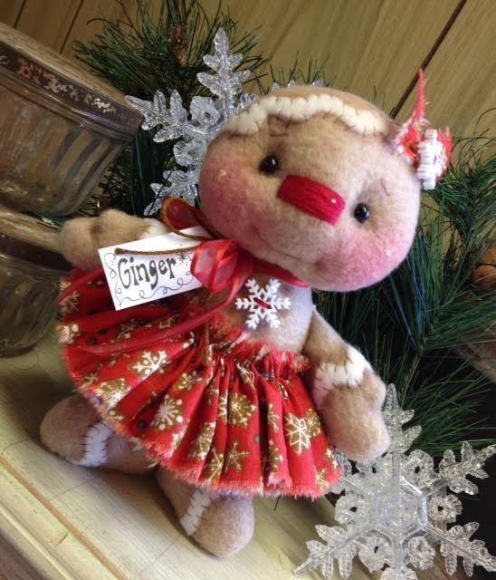 "Primitive HC Holiday Christmas Doll Gingerbread Man Girl 6.5"" Super Cute! #IsntThatCute #Christmas"