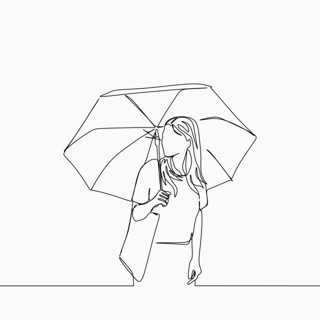 Single Line Drawing Of A Women Using Umbrella And Bag