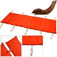 Sun Lounger Cushion Outdoor Sauna Chair Cushion Pad with Pillow - Anthracite cream orange - Garden Recliner Cushion