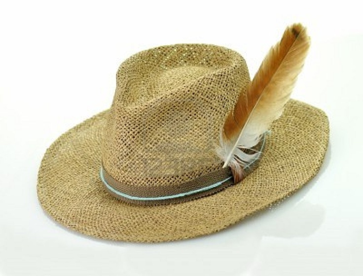 37f2b5f8204 Picture of a straw hat with feather stock photo