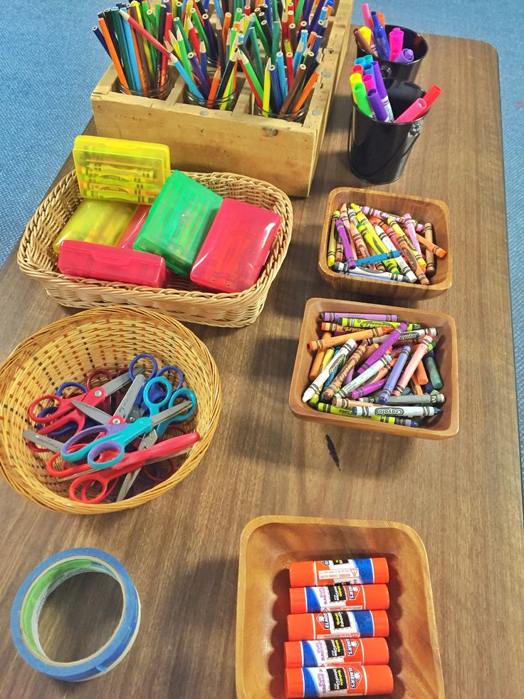 Basic art supply  organization for Godly Play space. Inspires me to organize our craft supplies.
