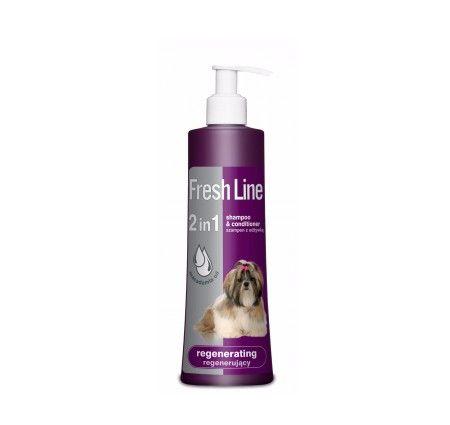 Fresh Line Szampon z odżywką regenerujący. Regenerujący szampon z odżywką Fresh Line to preparat zapewniający włosom odpowiednią strukturę, wygląd, a także ułatwiający ich rozczesywanie. Dodatkowo, wzbogacony o kompleks kondycjonujący, jak proteiny z kokosa, lanolinę oraz d-Pantenol o silnym działaniu odżywczym i nawilżającym, a także olejek z orzechów makadamia będący naturalnym źródłem witaminy F. Chroni skórę przed utratą wilgoci oraz niekorzystnym wpływem czynników zewnętrznych.