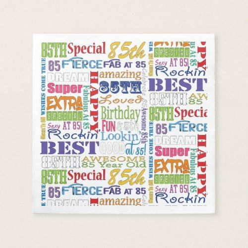 Unique And Special 85th Birthday Party Gifts Napkin