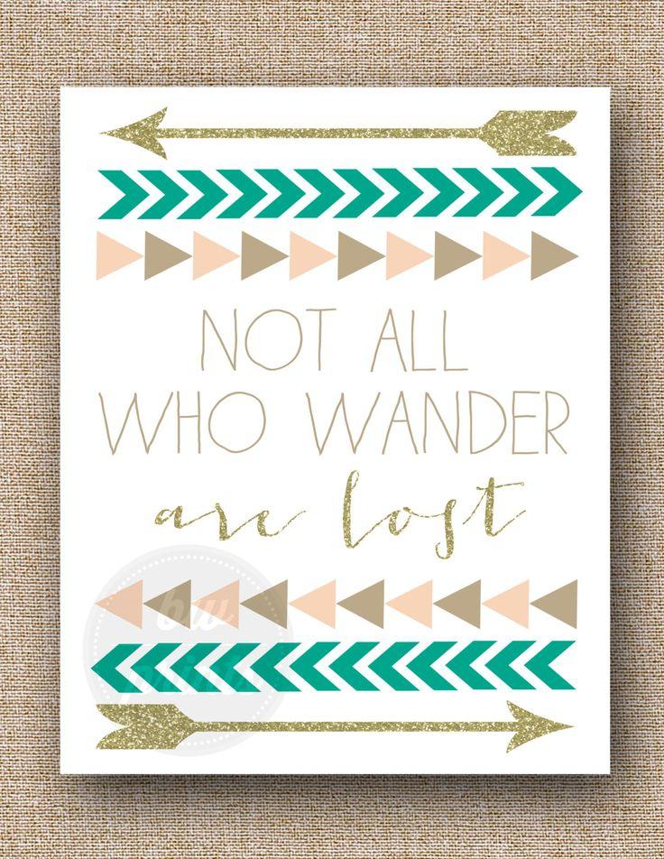 #NotAllWhoWanderAreLost #Quote #Print, #Triangle #Arrow #Chevron #Gold #Emerald #Pink