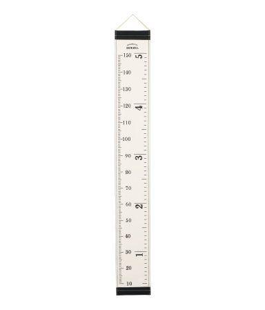 En veggdekor i bomullscanvas med målestokk i centimeter og inches. Malje øverst i metall for enkelt oppheng. Størrelse 21x161 cm.