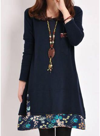 VERYVOGA Print Long Sleeves Shift Above Knee Casual Dresses