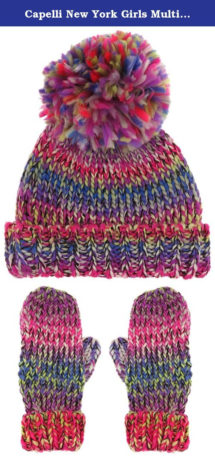 Capelli New York Girls Multicolor Knit Hat with Pom and Mittens Multi Combo M / L. Stay warm this winter in our large selection of Capelli New York cold weather accessories. Keep cozy in chunky knits or go bold in faux fur, our wide assortment of hats, earmuffs, scarves, gloves, and mufflers ensures you will be stylish during the cold winter months.