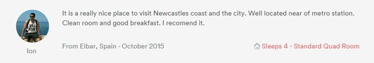 Great online review left for us from four Spanish guests after a three night stay in our standard quad room earlier this month.