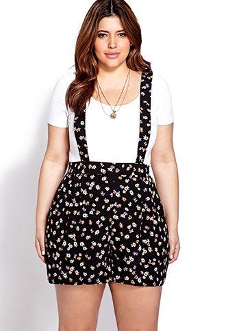 Dainty Floral Suspender Romper | Forever 21 PLUS - 2000070373