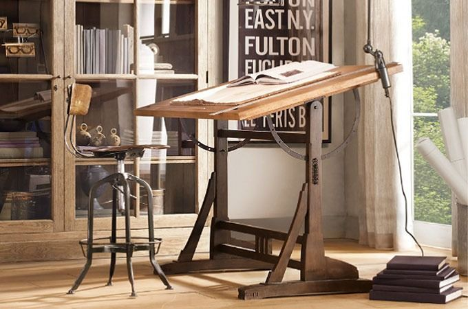 Another beautiful piece of vintage furniture by Restoration Hardware, this French architects table was reproduced in exacting detail from an early 20th-century drafting table. Crafted in solid wood with meticulous care, the tabletop can...