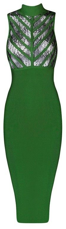 Lace Insert Sleeveless Midi Bandage Dress - Green