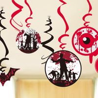 9pcs Spooky Halloween Ceiling Hanging Swirl Decoration Party Dangler Swirls with Cutouts of Flying Bats Bloody Eyeballs Zombies