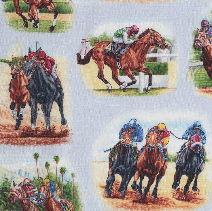 Horse Racing on Blue Jockeys Horses Country Quilt Fabric - Find a Fabric - Available to purchase in Fat Quarters, Half Metre, 3/4 Metre, 1 Metre and so on.