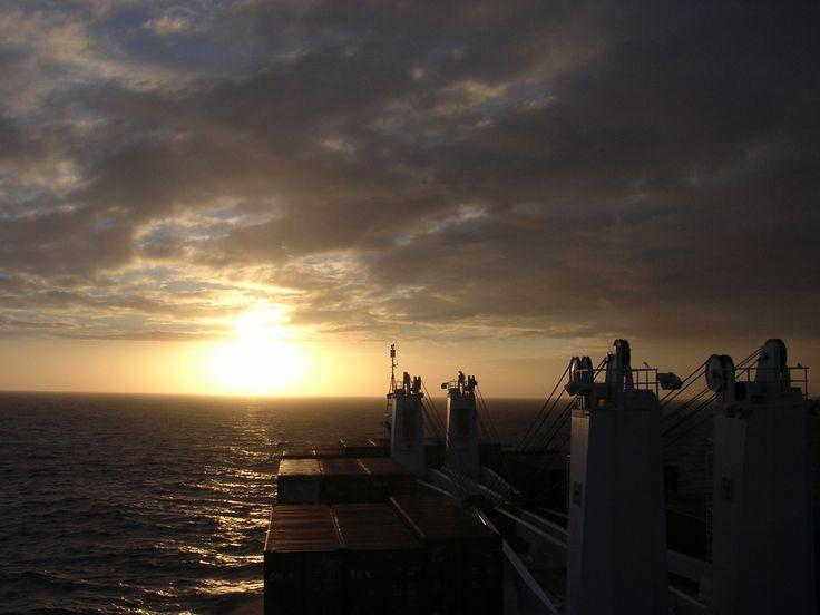 Sunrise on the #Atlantic Ocean - container ship #travel #adventure