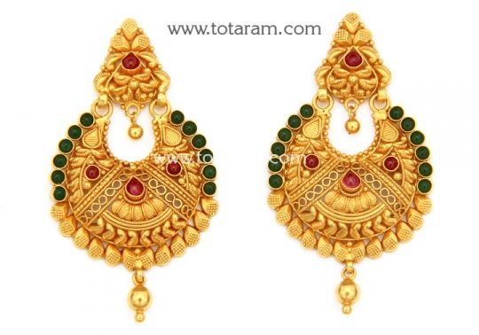 Chandbali Earrings - Temple Jewellery - 22K Gold Drop Earrings: Totaram Jewelers: Buy Indian Gold jewelry & 18K Diamond jewelry