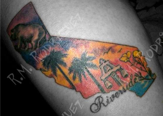 On my calf california bear california palm tree 39 s for Ride or die tattoo designs