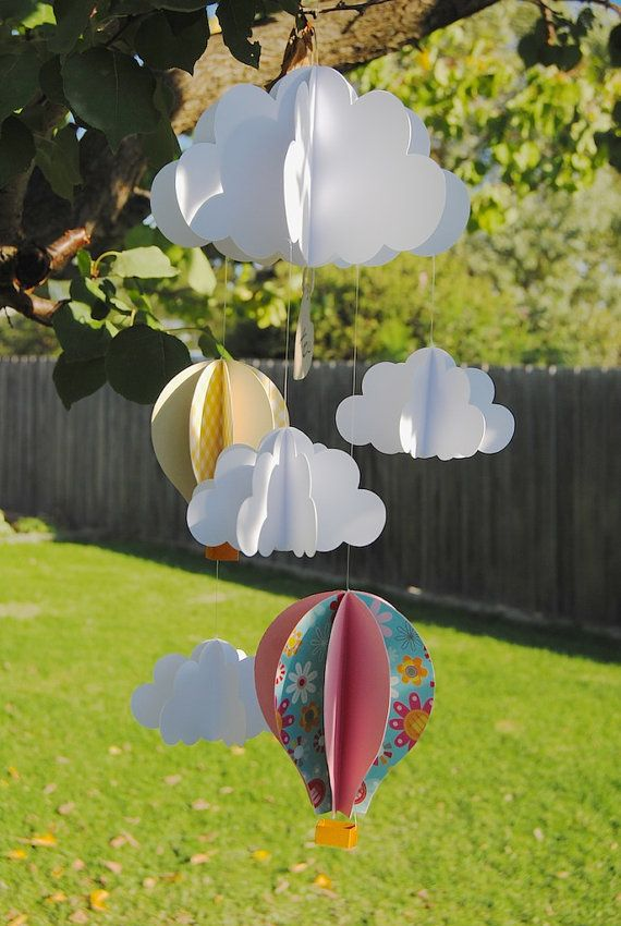 3D paper hot air balloon mobile