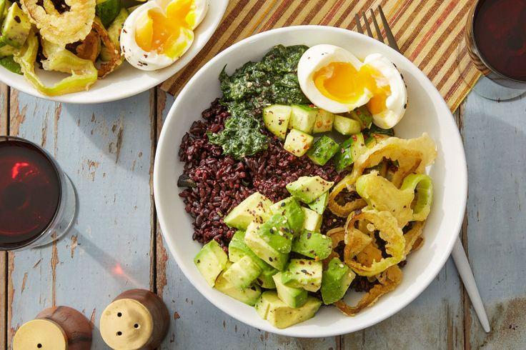 Purple Rice Bowls & Miso Spinach with Black Garlic & Cubanelle Pepper Tempura