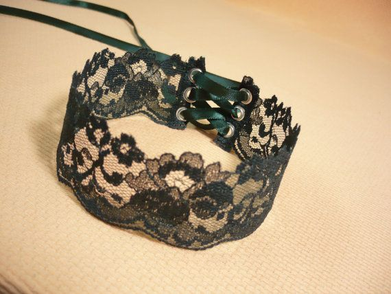 Simple Romantic Lace Choker in Dark Green Textile by estylissimo, $11.00