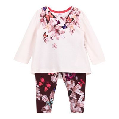 Baker by Ted Baker Baby girls' light pink pleated top and navy quilted leggings set | Debenhams