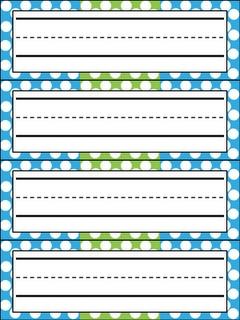 FREE Polka Dot name plates- blue/green and pink/purple!! Enjoy from Kindergarten Celebration :)