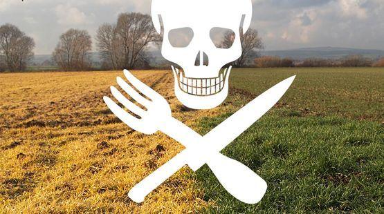 Ein Totenkopfprint mit Besteck-Knochen über den toten Feldern