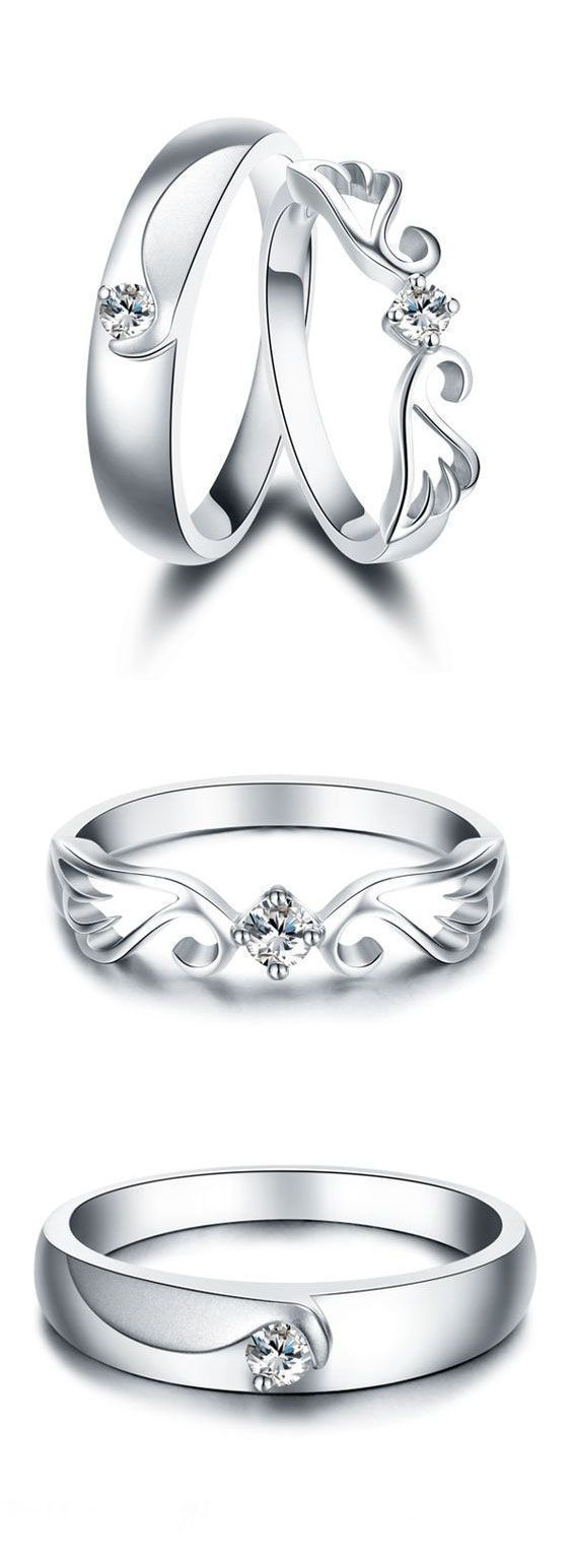 Angel Wing & Crown Promise Rings for Couples, Matching Cute Couple Rings Set in Sterling Silver, Cheap Diamond Womens and Mens Wedding Rings, Beautiful Love Jewelry  Set for Boyfriend and Girlfriend #DiamondWeddingRingsforMen #men'sjewelry