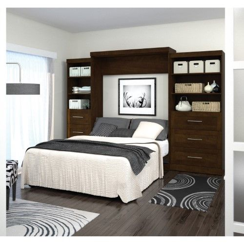 Best Bestar Pur Murphy Wall Bed With Two 3 Drawer Attached 400 x 300
