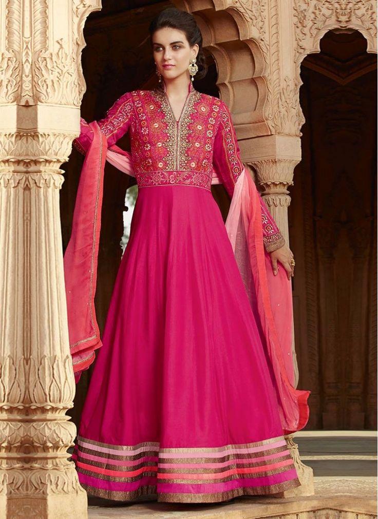 Georgette Hot Pink Resham Designer Anarkali salwar suit