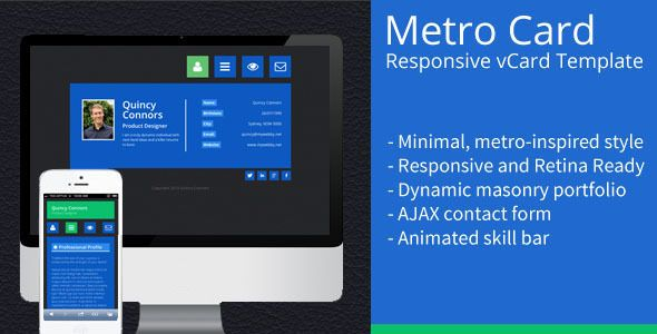 Metro Card - Minimal, Responsive vCard Template