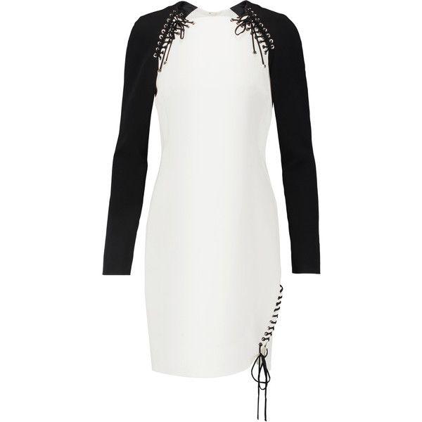 Emilio Pucci - Two-tone Lace-up Stretch-crepe Mini Dress ($674