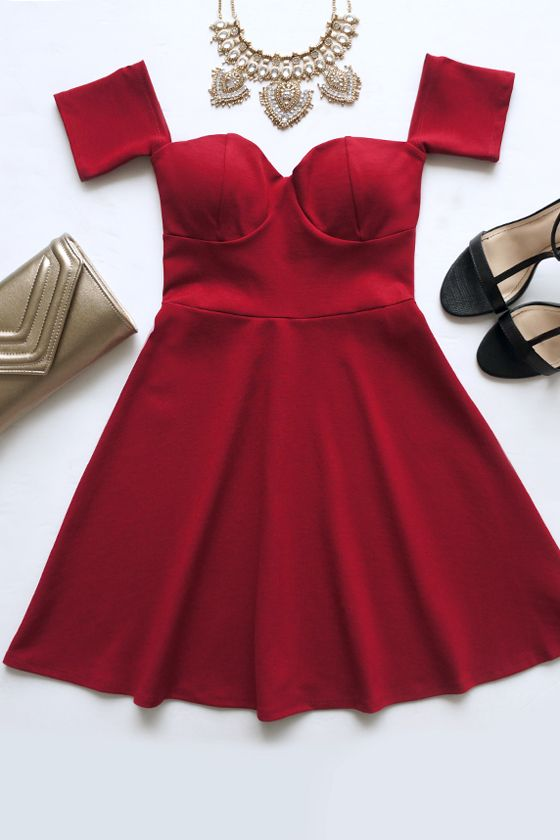 Celebrate Good Times Off-the-Shoulder Wine Red Dress