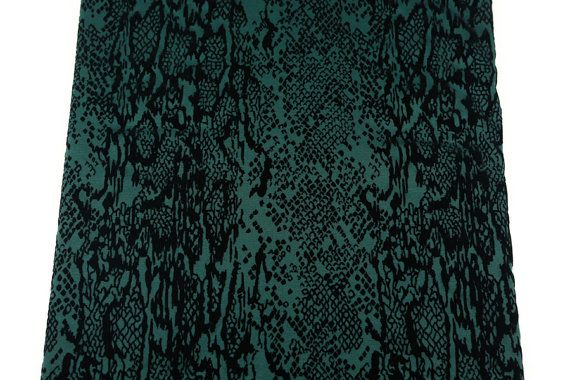 Green and Black Flocked Ponte Double Knit Fabric by felinusfabrics