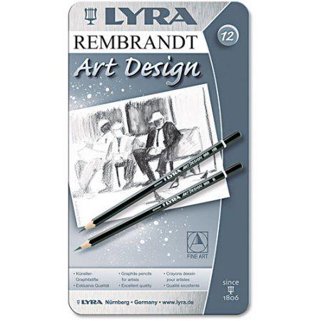 Lyra Graphite Art Pencils, Black, 12 per Pack, Multicolor