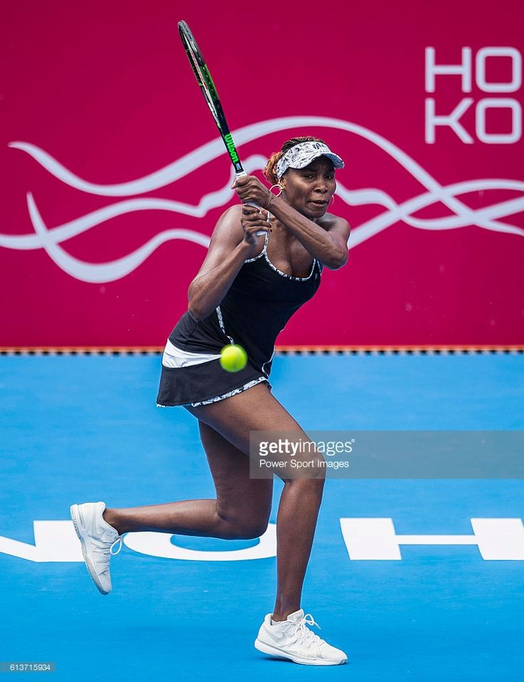 Venus Williams of USA in action against Risa Ozaki of Japan during their singles first round match of Prudential Hong Kong Open at Victoria Park Stadium on October 10, 2016 in Hong Kong, Hong Kong.