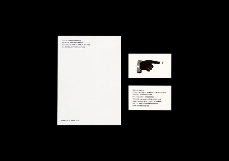 Identitet för tidningsförlaget Svenska Nyhetsbrev i Stockholm. Logotype, symboler, typografi, skyltsystem, förpackningar, stationery m.m., 1999–.