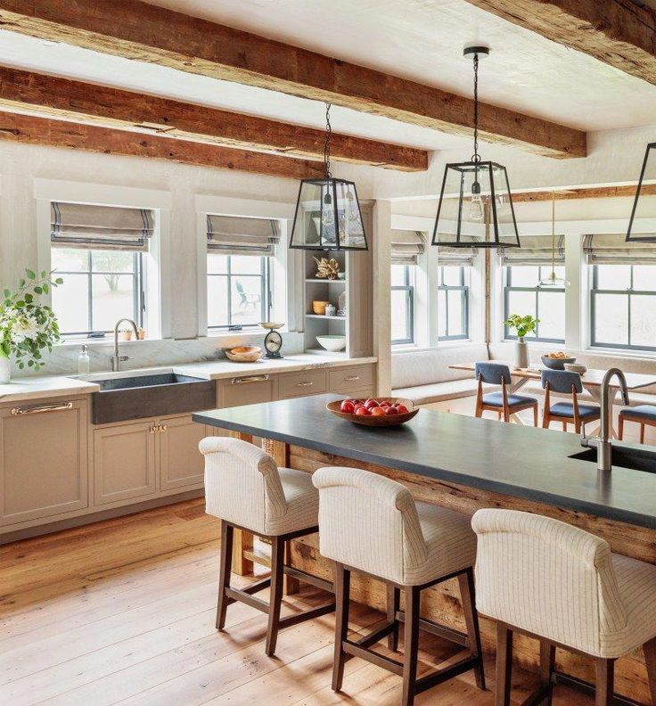 exposed beams in a modern farmhouse kitchen