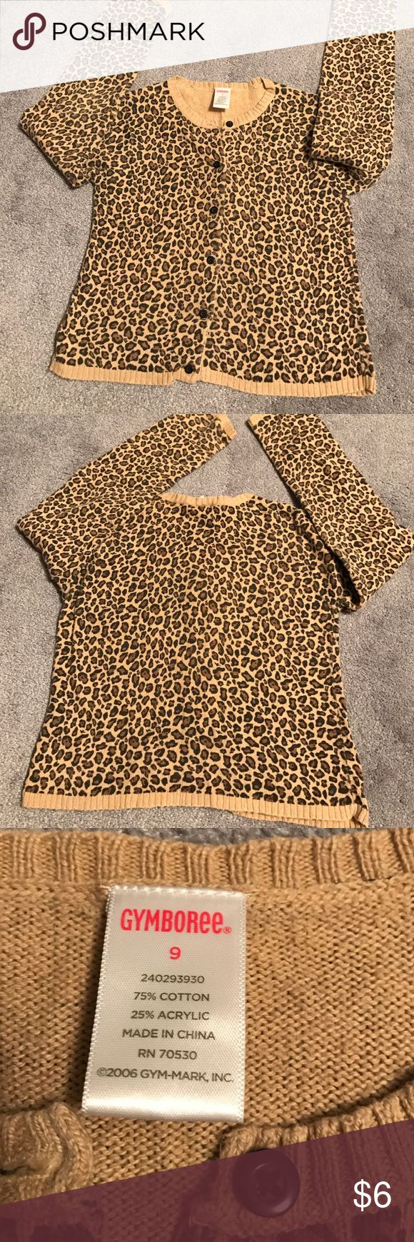 Gymboree size 9 cheetah print sweater Gymboree cheetah print sweater. Size 9 girls. (But listed as size 8, because there is no 9 under girls) Worn and in good condition. Gymboree Shirts & Tops Sweaters