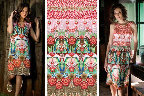 Catalina Estrada,   Illustrations for brasilian fashion brand Anunciaçao, summer 2010 collection: Estrada Illustrations, Patterns Floral Tropical, The Dress, Amazing Patterns