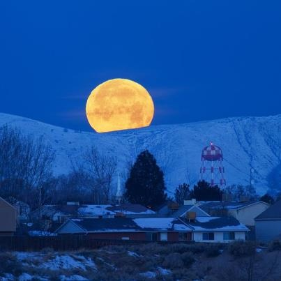 Moon setting over Oquirrh Mountains    ...on a cold winter morning in the Salt Lake City metro area.    Photo was taken on January 9, 2012 in Kearns, Utah, US, using a Canon EOS 7D.    ...See More