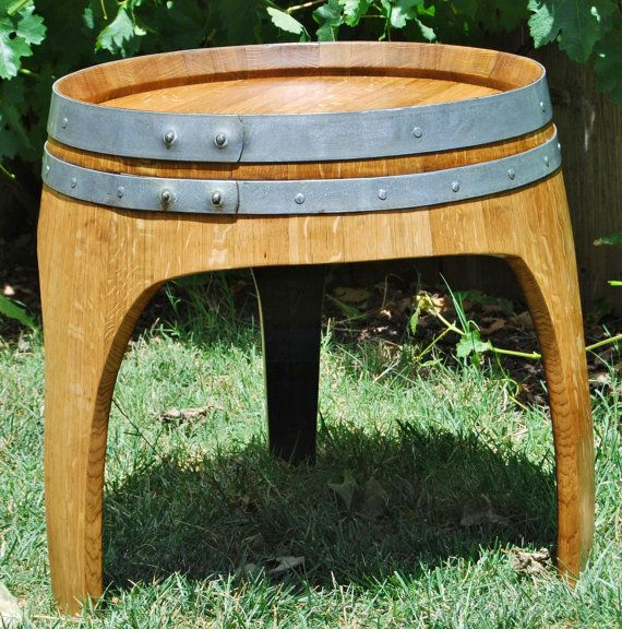3 legged arched napa wine barrel end table by buddhabarrels arched napa valley wine barrel table