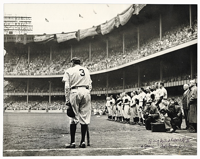 """Nat Fein """"The Babe Bows Out"""" June 13, 1948. This image is powerful because it captures the essence that was the Babe. It focuses on his passion and not the deteriorating man he had become after years of great baseball.   The Babe Bows Out - Pulitzer Prize Winning Photograph"""
