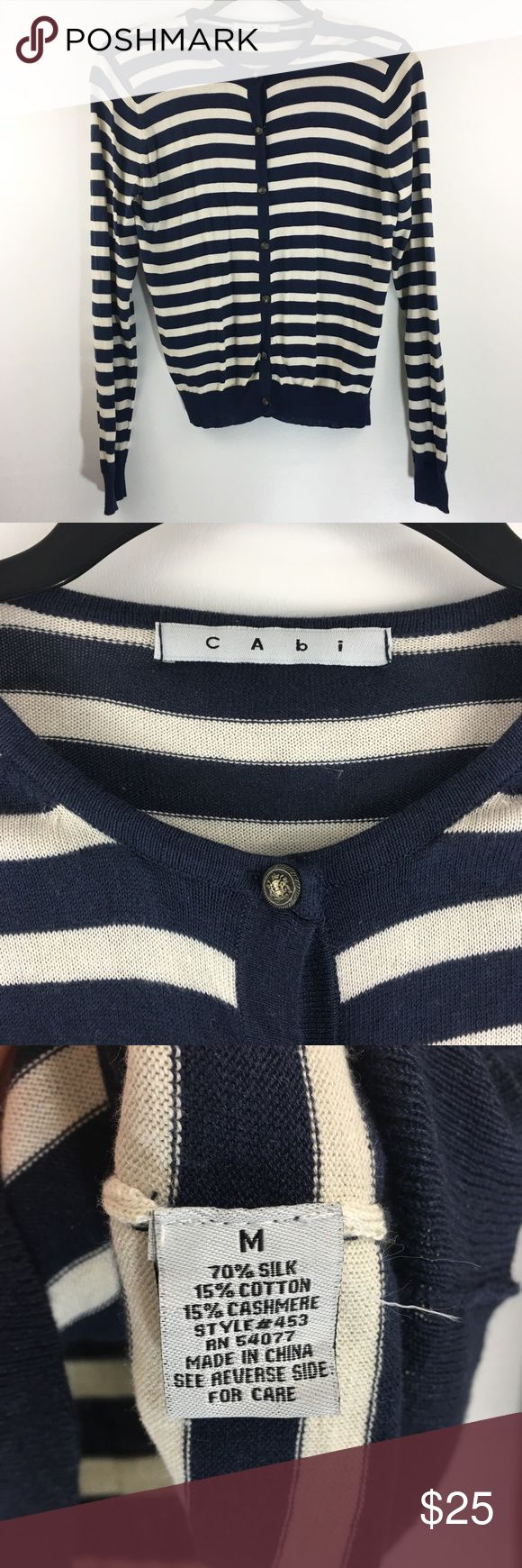 CAbi Navy & Cream Striped Nautical Cardigan#BI CAbi cardigan style#453. Navy & Cream. Size Medium. Gently worn in great condition no rips or stains. Smoke Free Home.  Approximate Measurements: 18' Underarm to Underarm  25' Sleeves 22'Length CAbi Sweaters Cardigans