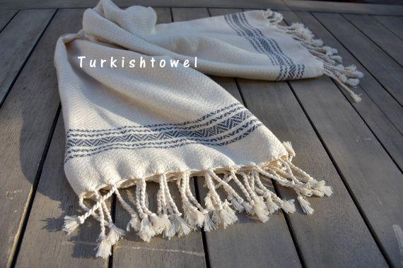 Turkishtowel-Soft-Hand woven,warp&weft cotton Hand,Tea,DishTowel-Herrigbone pattern,Grey stripes on Natural Cream