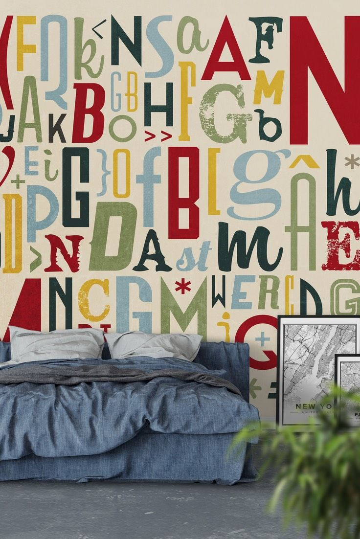 Retro typography 2 Wall Mural - Wallpaper