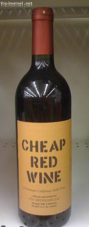 Cheap red wine. Actually, it's rather good.
