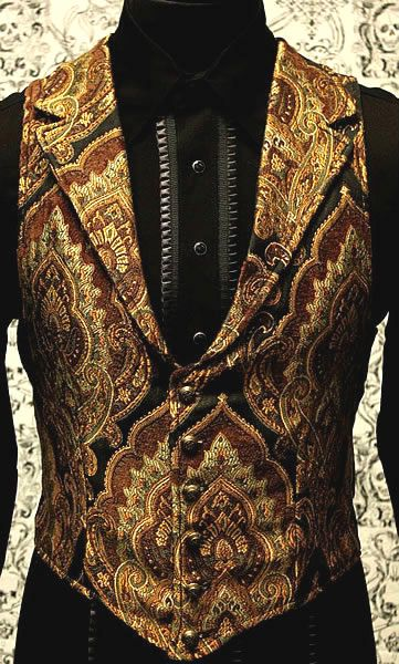 Victorian Aristocrat Vest A victorian gentleman's vest with class. Great for formal occasions, can be worn under a suit jacket or by itself. Made in rich gold/brown/green/black tapestry fabric with black satin lining and back.