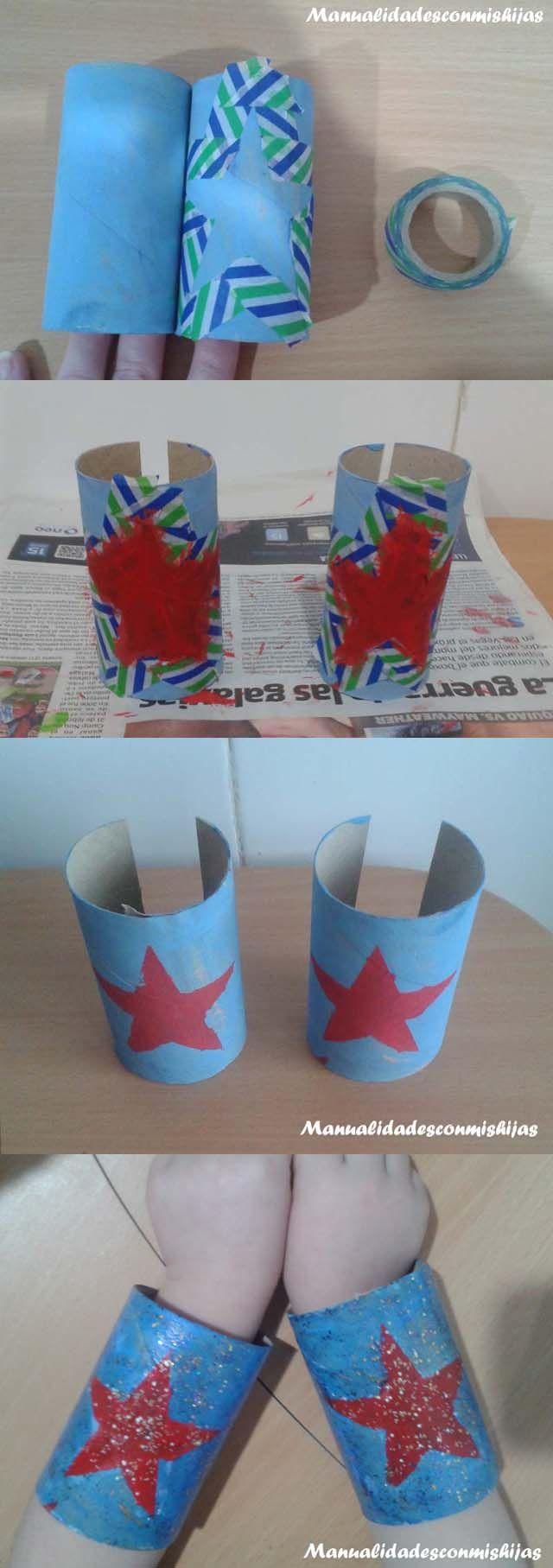 Manualidadesconmishijas: Brazalete de superhéroe con tubo de cartón